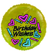 "2""  Airfill Happy Birthday Wishes Gold  Balloon"