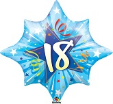 "28"" 18th Birthday  Blue Shinning Star Balloon"