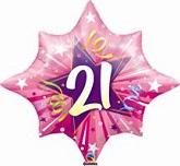 "25"" Large 21st Birthday Pink Star Mylar Balloon"
