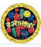 """18"""" Happy Birthday Smiles (Yellow Border)"""