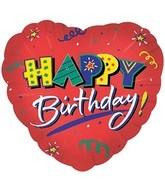 """4"""" Airfill Happy Birthday Red Heart  Balloon"""
