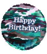 "9""  Airfill Happy Birthday Camouflage Balloon"