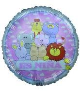"18"" Es niña spanish cute zoo animals pink & white balloon"