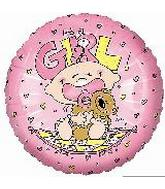 """9"""" Airfill It's a Girl Baby w/bear Quilt Balloon"""