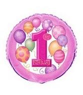 """18""""  First Birthday 1st Pink Unique"""