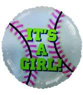 "9""  Airfill It's a Girl Baseball Balloon"