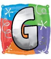 """18"""" Designer  Square Letter Balloon """"G"""""""
