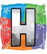 """18"""" Designer  Square Letter Balloon """"H"""""""