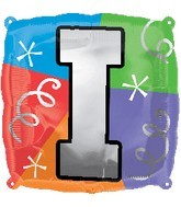 """18"""" Designer  Square Letter Balloon """"I"""""""