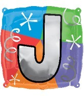 """18"""" Designer  Square Letter Balloon """"J"""""""