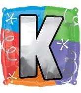 """18"""" Designer  Square Letter Balloon """"K"""""""