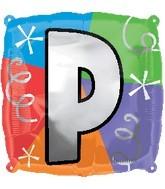"""18"""" Designer  Square Letter Balloon """"P"""""""