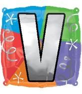 """18"""" Designer  Square Letter Balloon """"V"""""""
