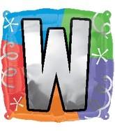 "18"" Designer  Square Letter Balloon ""W"""