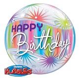 """22"""" Happy Birthday Sorbet Plastic Bubble Balloons"""