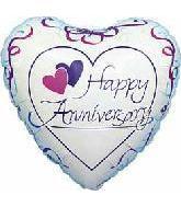 "4"" Airfill Happy Anniversary Pink Ribbon"