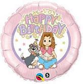 "18"" Precious Girls Club Happy Birthday Mylar Balloon"