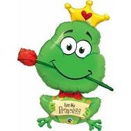"""39"""" Frog Kiss Me Princess Balloon"""