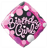 "18"" Birthday Girl Pink & Black Mylar Balloon"