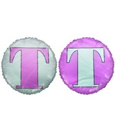 "18"" Letter T Light Pink & White Round Mylar Balloon"
