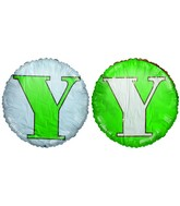 "18"" Classic Letter Balloon Letter ""Y"" Green/White"