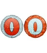 "18"" Letter O Orange & White Round Mylar Balloon"