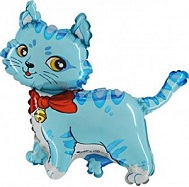 "44"" Blue Cat with Bow and Bell Balloon"