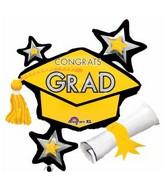 "31"" SuperShape Congrats Grad Yellow Cluster Balloon"