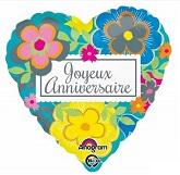 "18"" Bright Floral Joyeux Anniversaire Balloon"