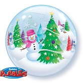 "22"" Festive Trees & Snowmen Bubble Balloon"