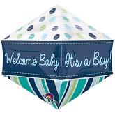 """21"""" Ultrashape Anglez Welcome Baby Boy Balloon"""