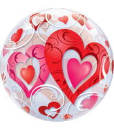 "22"" Red Heart and Filigree Bubble Balloons"