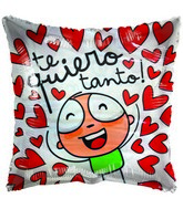 "36"" Te Quiero Gellibean Red Hearts White Jumbo balloon"