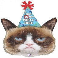 "36"" Foil Licensed Shape Grumpy Cat Party Face Balloon"