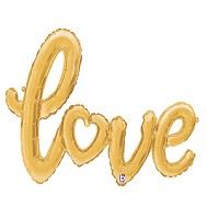 """47"""" Air-filled Shape Love Script - Gold Foil Balloon"""