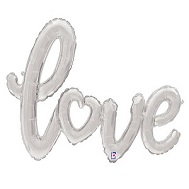 """47"""" Air-filled Shape Love Script - Silver Foil Balloon"""