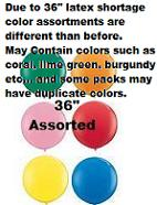 "36"" STD Assorted Latex Balloons 6 Pack"