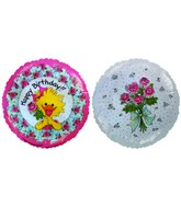 "4"" Airfill Happy Birthday Rose Suzi/Plaid Balloon"