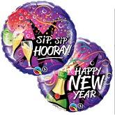 """18"""" New Year-Sip, Sip Hooray Balloon"""