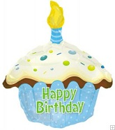 """17"""" Happy Birthday Day Blue Cupcake Shape Packaged"""