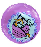 "2"" Airfill It's a Girl Cat Blanket Balloon"