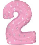 """38"""" Pink Sparkle Two Number Balloon"""