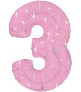 "38"" Pink Sparkle Three Number Balloon"