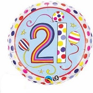 "18"" Dots & Stripes Age 21 Licensed Mylar Balloon"
