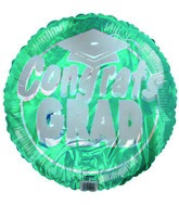 "18"" Congrats Grad White Hat Green Foil Balloon"