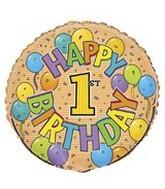 "18"" Happy Birthday Festive 1st  Balloon"