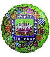 """9"""" Airfill Happy Birthday Cake Hearts & Stars Green Balloon"""