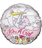 "18"" It's a Girl Banner Stork Silver Foil Balloon"