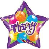"18"" Sparkling Thirty Mylar Balloon"