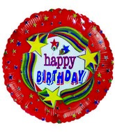 "4"" Airfill Happy Birthday Stars Rainbow Balloons"